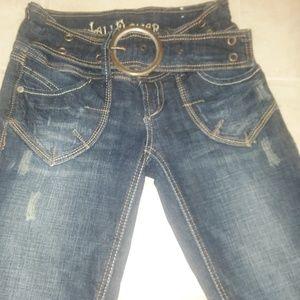 Wallflower flared distressed western jeans w/ belt